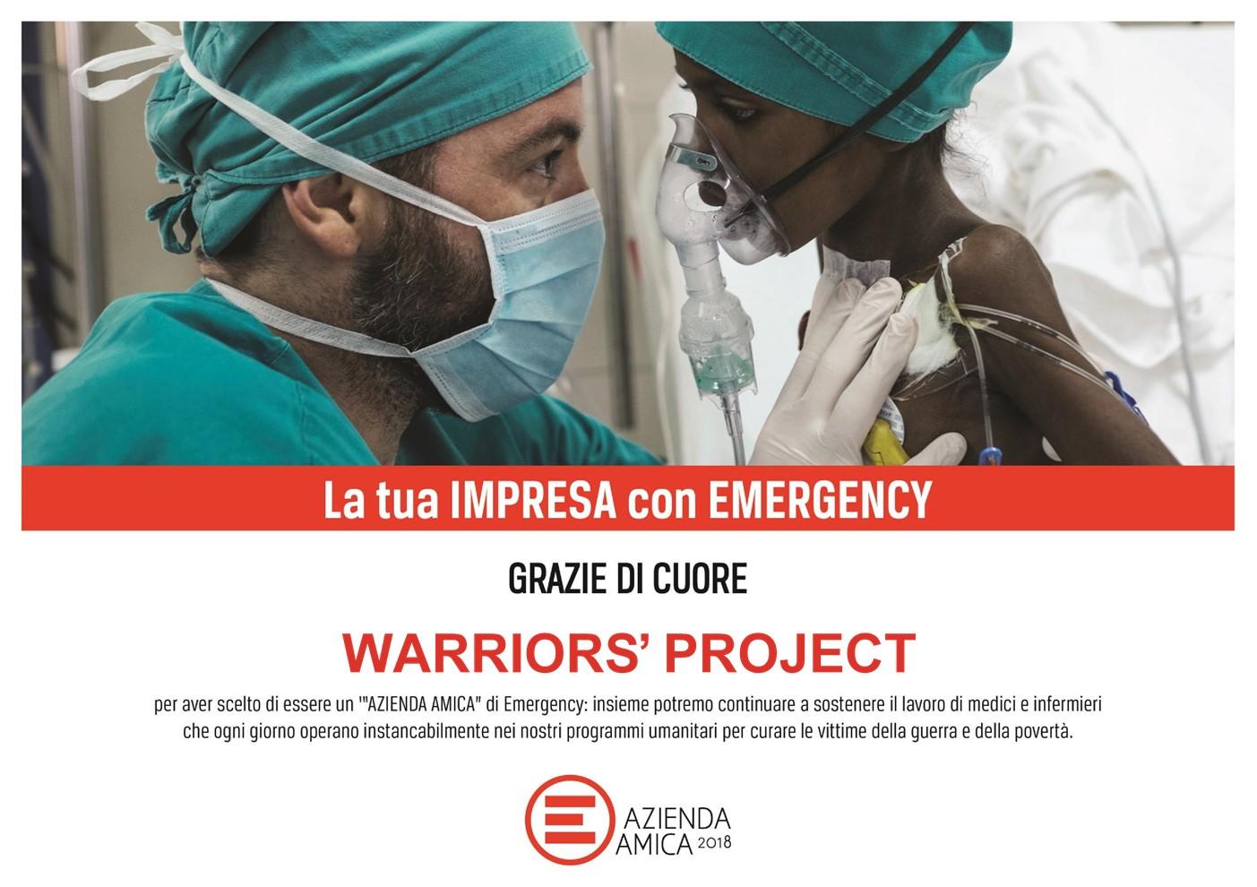 Il cuore di Warriors' Project ha scelto Emergency