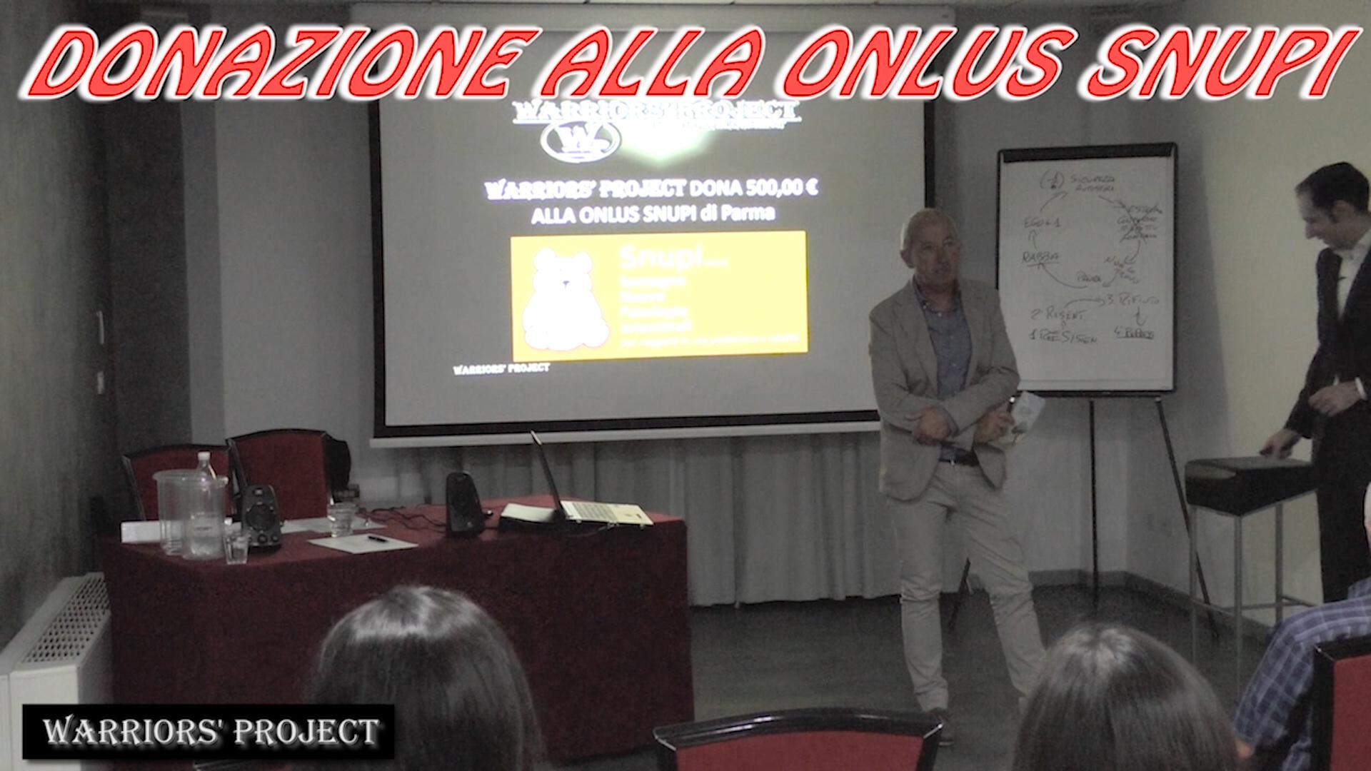 Donazione Warriors' Project alla ONLUS SNUPI di Parma - Inquadrati Giulio Orsini e Vincenzo Cento